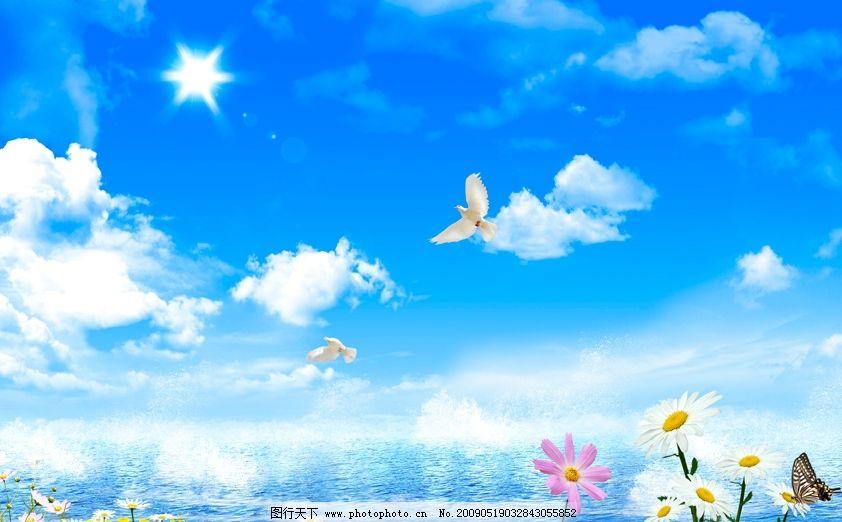 蓝天大海 白云 海浪 浪花 水水纹 鲜花 阳光 鸽子 大海景色 广告背景