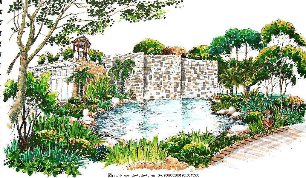 水景 手绘 小亭子 环境设计 景观设计 设计图库 72dpi jpg