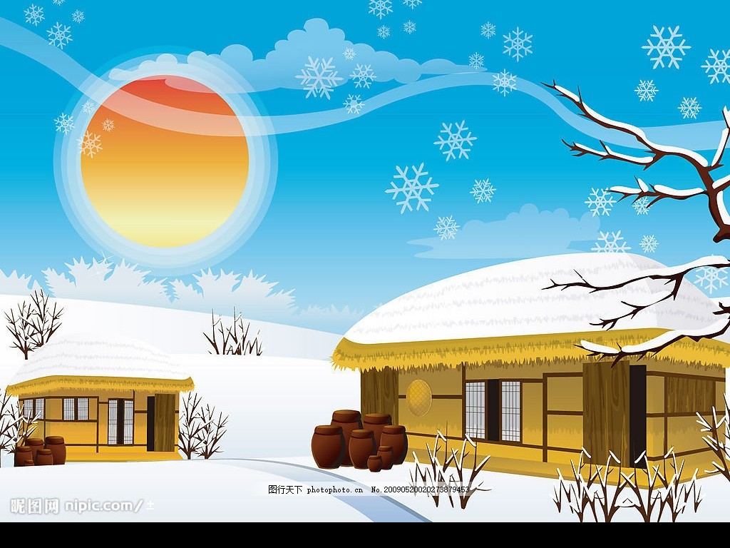 唯美雪景插画 唯美 雪景 插画 太阳 房子 背景 可爱 底纹边框 背景