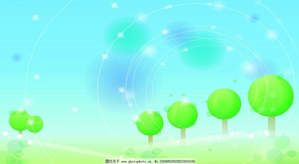 春绿 风景 卡通 韩国 清新 田园 原野 壁纸 广告设计