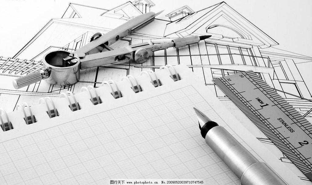 图纸5 图纸 圆规 钢笔 尺子 建筑园林 其他 摄影图库 240dpi jpg