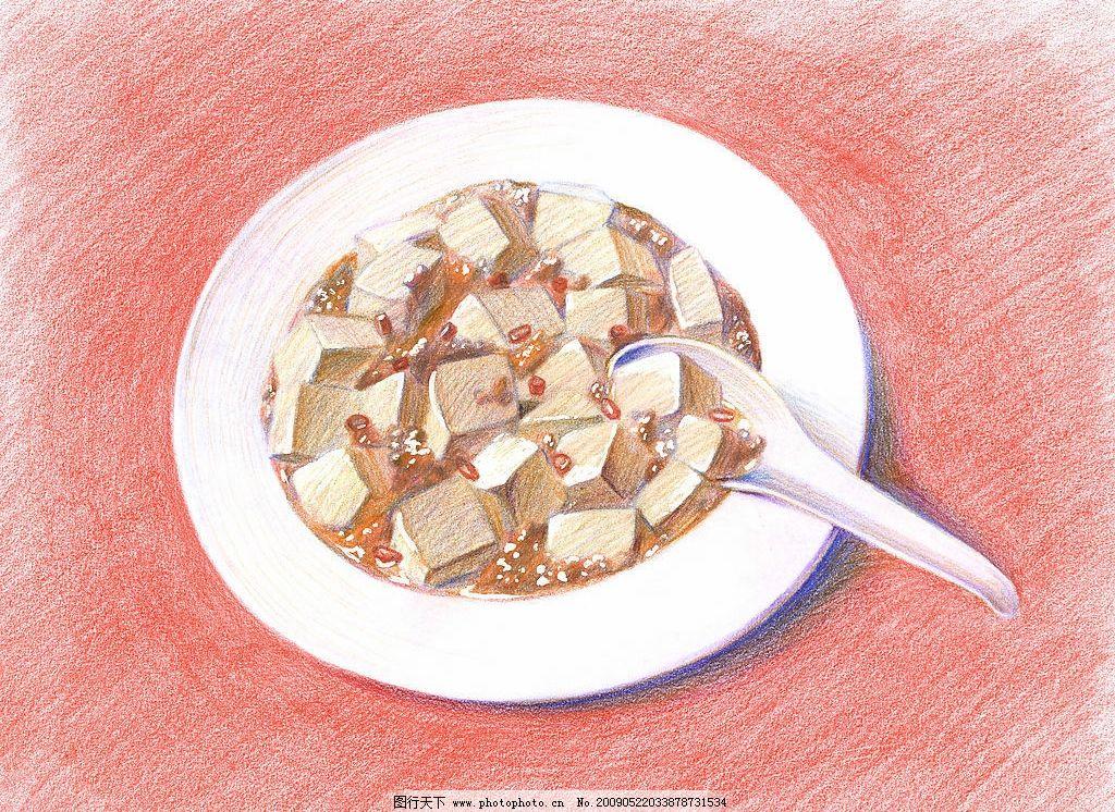 彩铅 绘画 美食 菜谱图片