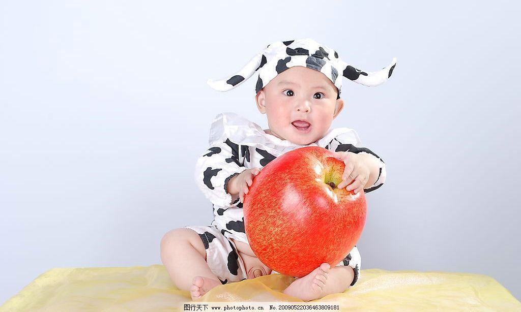 儿童 儿童摄影 可爱宝宝 大苹果 纱 表情 人物图库 儿童幼儿 摄影图库