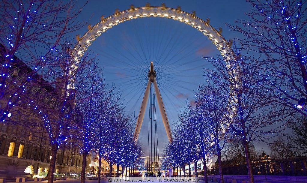 伦敦眼夜景 英国 伦敦 伦敦眼 夜景 建筑园林 建筑摄影 摄影图库 240d