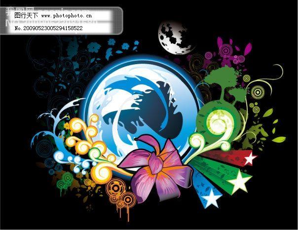 放射线背景 圆形 立体星星 潮流花纹 花朵 翅膀 丝带 banner dj 碟机