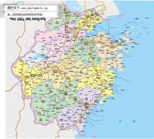浙江省地图ai文件 矢量浙江地图_其他_矢量图_图行