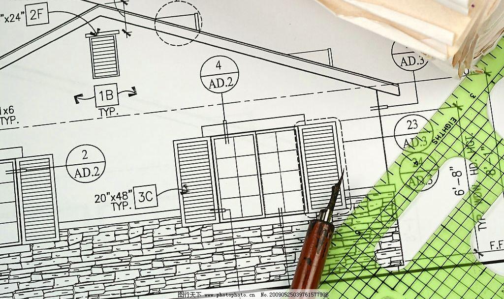 图纸16 图纸 钢笔 尺 建筑园林 其他 摄影图库 300dpi jpg