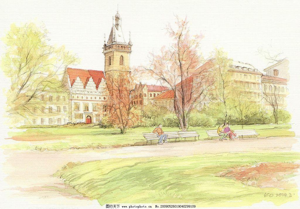 水彩画003 水彩画 风景 国外 建筑 教堂 文化艺术 绘画书法 设计图库