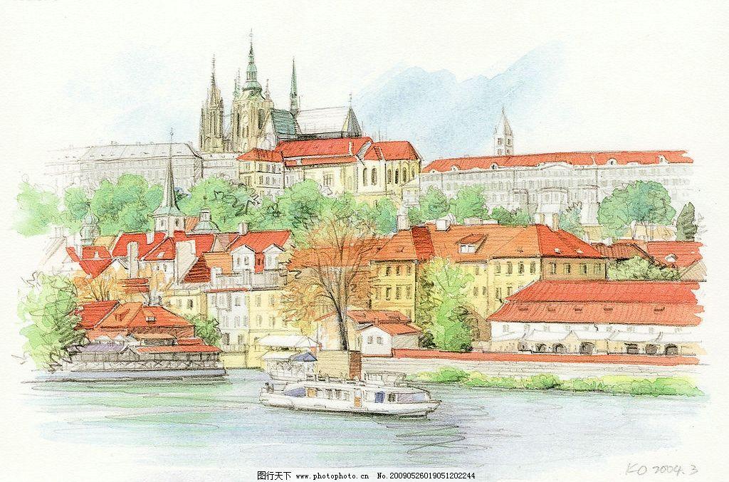 水彩画004 水彩画 风景 国外 建筑 教堂 文化艺术 绘画书法 设计图库