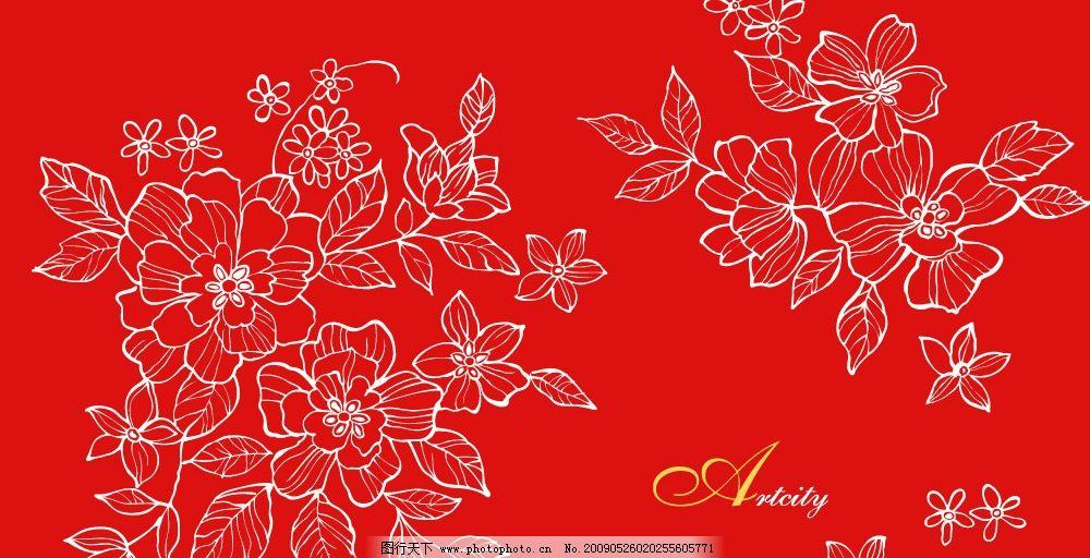 红色背景白描牡丹花矢量图图片