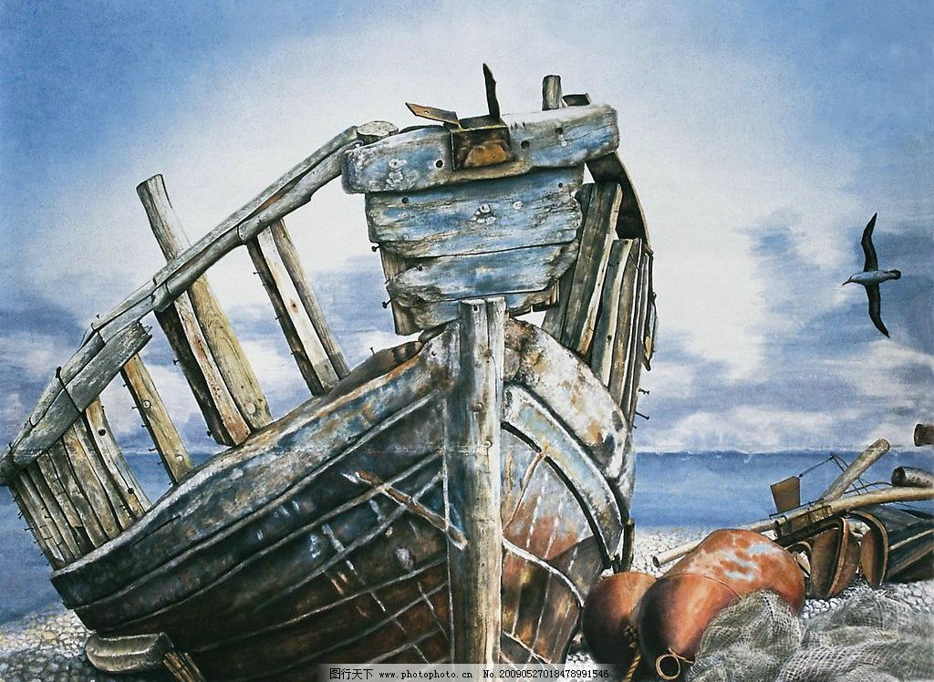 旧船 意境 绘画 海 破旧 其他 图片素材 动漫动画