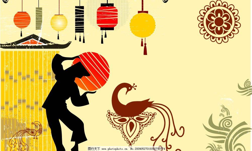 中国古典花纹 月亮 人物剪影 房屋 灯笼 孔雀 端午节 节日素材 矢量