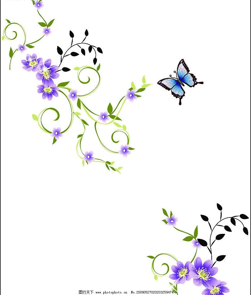 思花 浪漫 底纹 花朵 美丽 蝴蝶 底纹边框 背景底纹 设计图库 72dpi