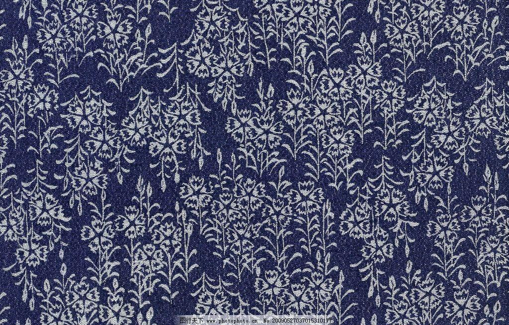 深蓝色布料材质贴图 深蓝色布料 花朵连续图案 材质贴图 花纹 cg作品
