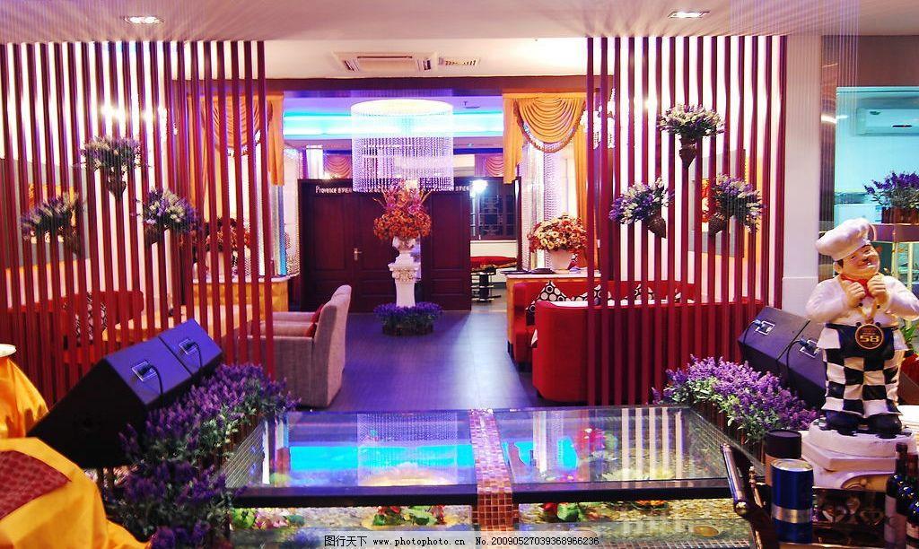 西餐厅 隔断 水晶楼梯 红沙发 卡座 装修 灯 珠帘 建筑园林