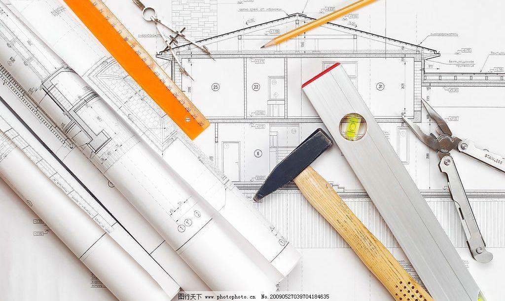图纸 尺 锤子 建筑园林 摄影图库