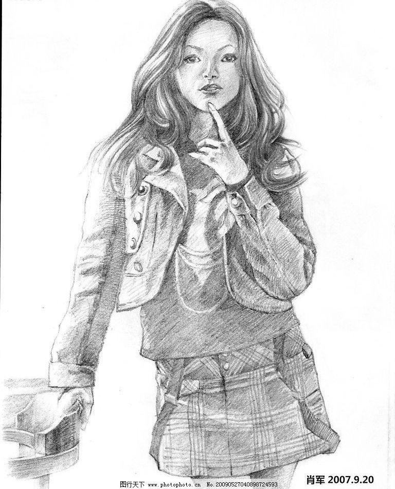 模特 美女 素描 手绘 人物图库 人物写真 设计图库 300dpi jpg