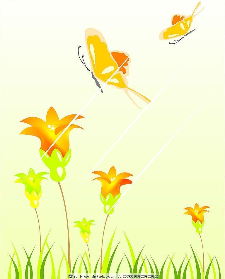 艺术花门系列 幽默卡通 玻璃壁纸 时尚花 底纹边框 背景底纹