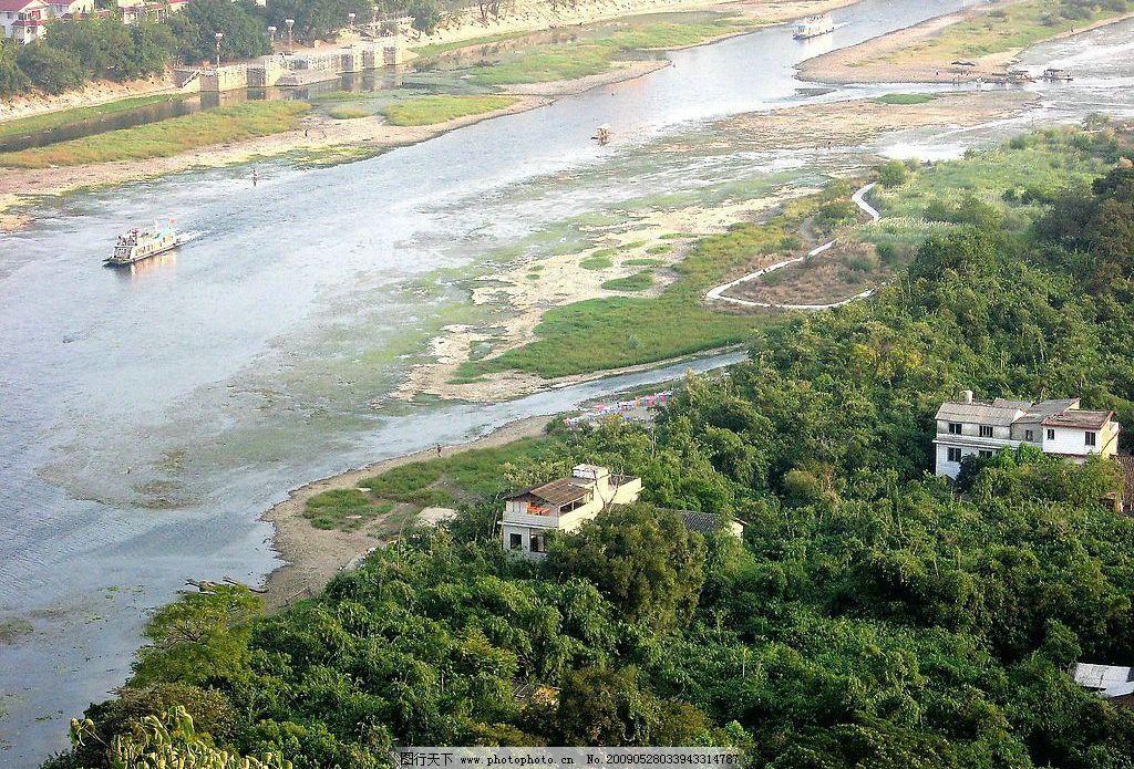 漓江俯瞰图 漓江 河水 水草轮船 房子 树木 树林 村庄 沙滩 游客 旅游