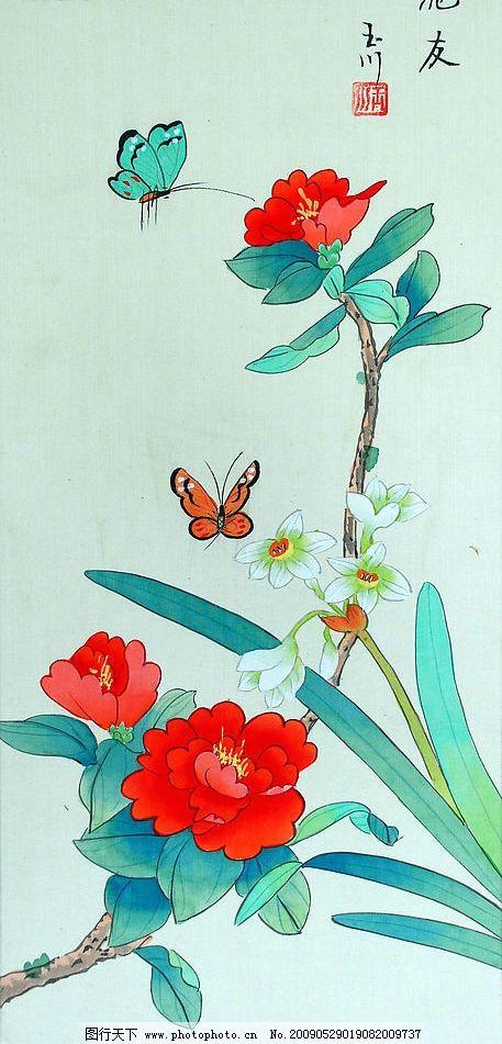 觅友 工笔画 工笔 蝴蝶 兰花 牡丹 花 文化艺术 绘画书法 设计图库 美