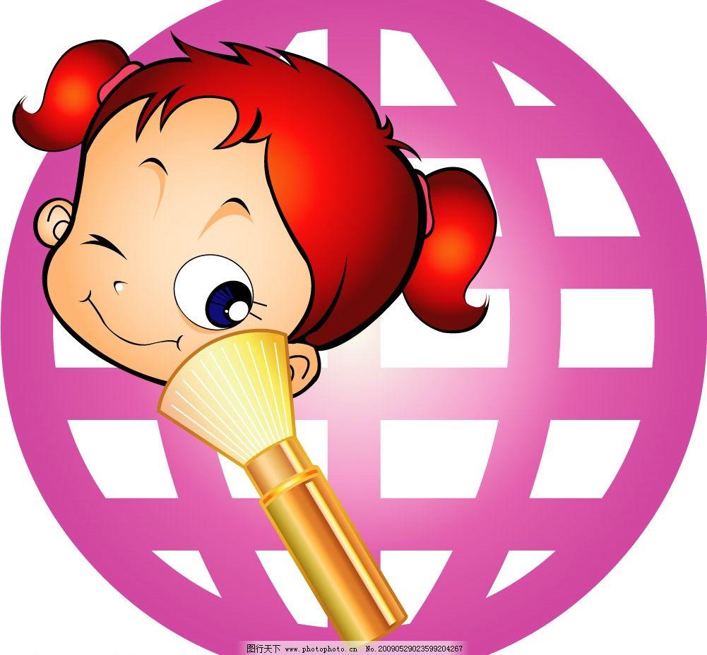 卡通儿童 幼儿 可爱女孩 小女孩 圆形 红色 矢量人物 矢量图库
