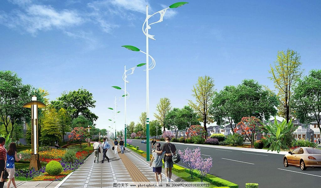 道路效果图 城市道路 环境设计 景观设计 设计图库 150dpi jpg