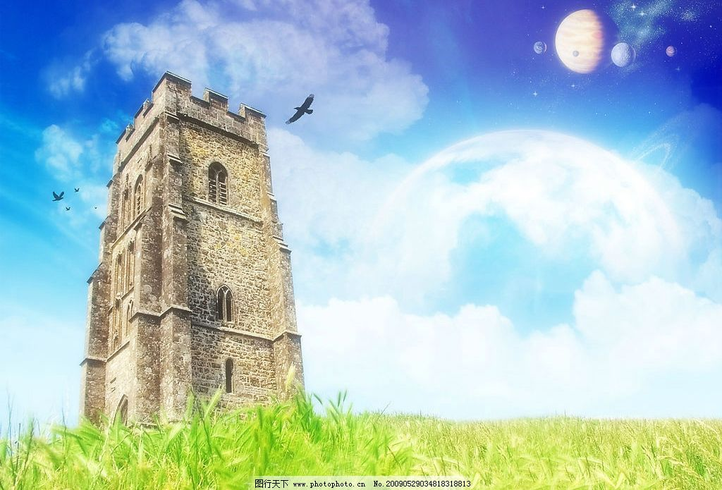 郊外堡垒 美丽风景 蓝天 白云 云层 天空 树木 景色 花草 房屋 房子