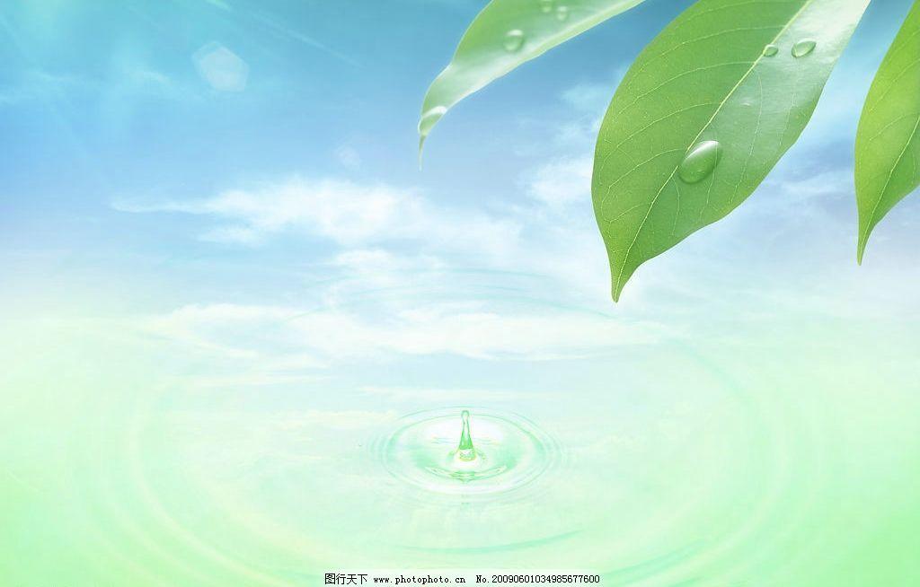 自然生活 富尔特 素材辞典 树叶 水滴 涟漪 天空 云 自然景观 其他 摄