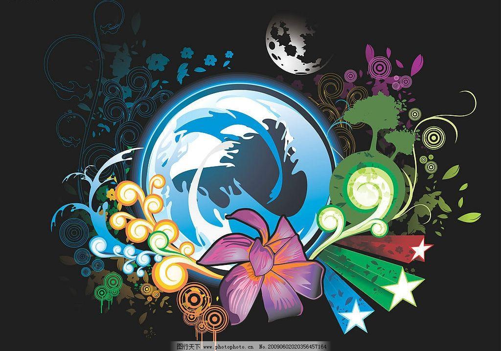 设计 光芒 圆形 花纹 花朵 翅膀 丝带 蝴蝶 地球 月球 底纹边框 花边