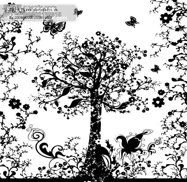 黑白树图片_底纹边框_底纹边框_图行天下图库