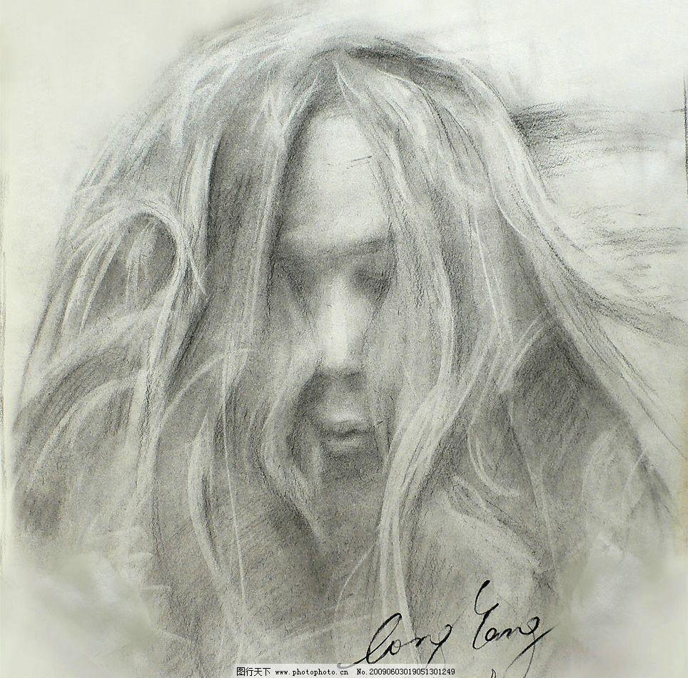 神秘女孩 女孩 素描 凌乱头发 神秘 文化艺术 绘画书法 设计图库 72