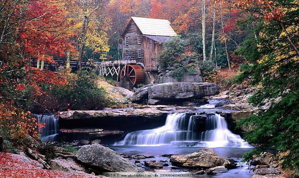 山中独居 溪水 小屋 自然景观 自然风景 摄影图库