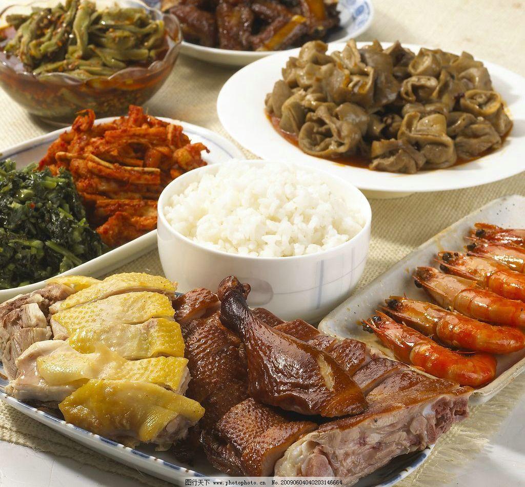 凉菜拼盘 虾 米饭 白斩鸡 鸡腿 凉菜 餐饮美食 传统美食 摄影图库 300
