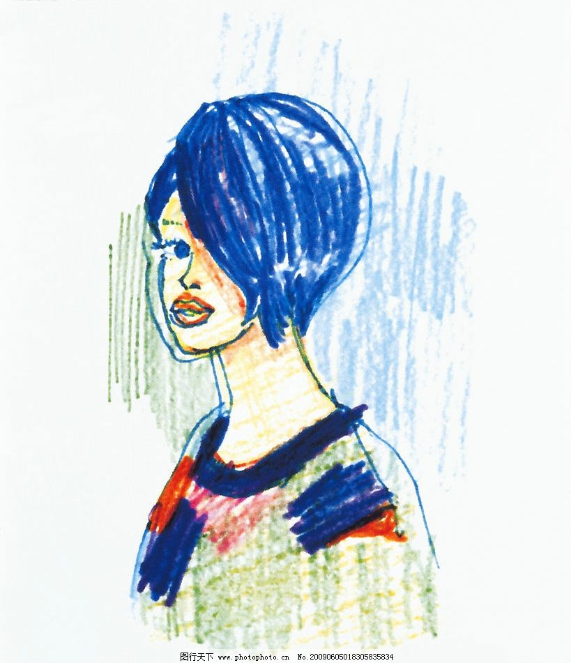 个性插画 人物 女性 蜡笔画 动漫动画 动漫人物 设计图库 350dpi jpg