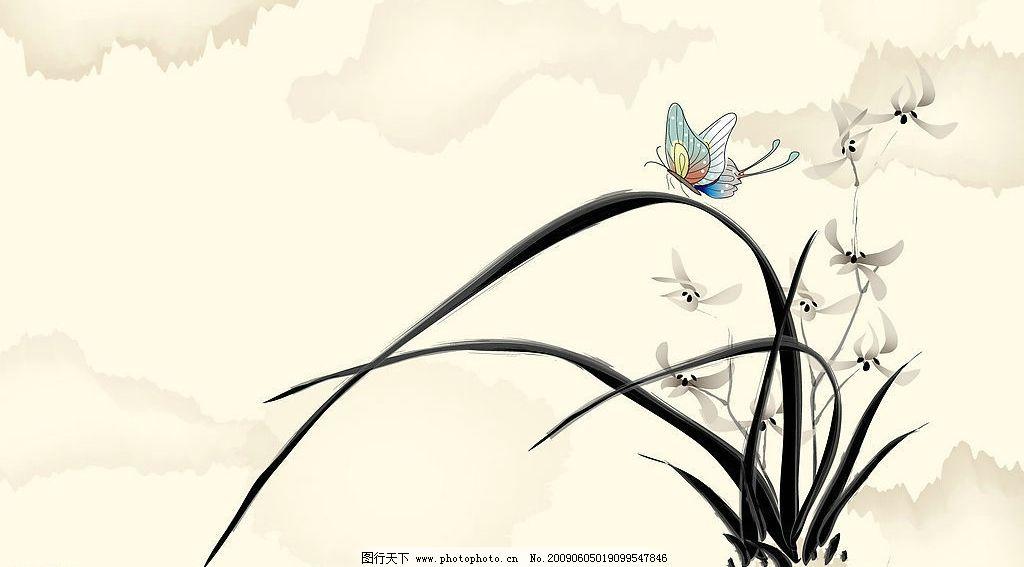 水墨国画水仙花图片