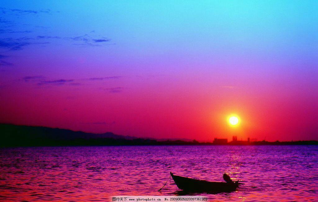 海上晚霞背景 海上 晚霞 夕阳背景 小船 天空 底纹边框 背景底纹 设计