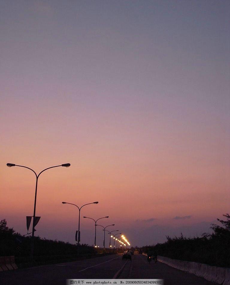 黄昏 天空 街道 路灯 自然景观 自然风景 摄影图库 72dpi jpg