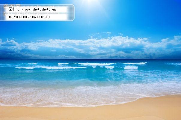 海滩风景图片 蓝色清爽 设计图 美丽的大海滩 上海金山海滩图片