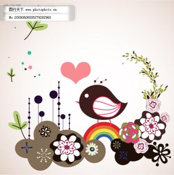 矢量图 小鸟 可爱 花朵 小鸟 背景 矢量图 矢量花纹矢量花边底纹边框