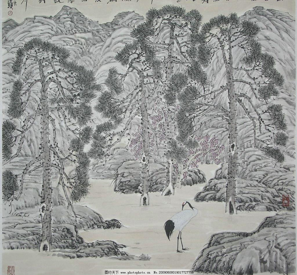 高鸣常向月 国画 写意 花鸟 杨福镇 丹顶鹤 松树 山石 文化艺术 绘画