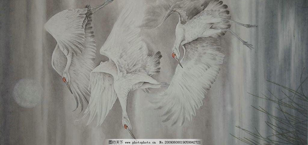 飞翔 国画 工笔 花鸟 杨福镇 丹顶鹤 云天 水草 云和月 文化艺术 绘画