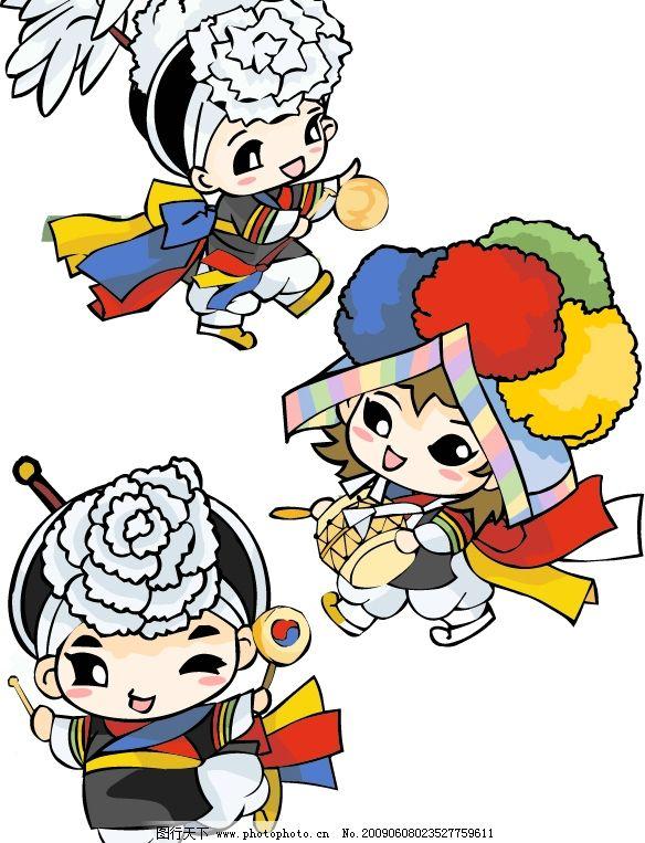 韩国娃娃 韩服 节日 娃娃 服装 小鼓 华丽 可爱 花 鼓锤 矢量人物