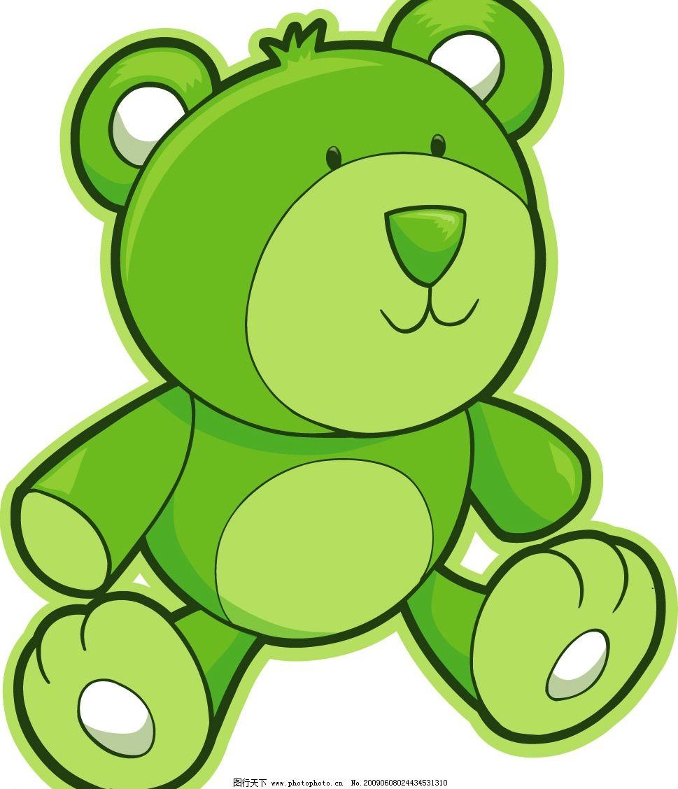 绿色卡通小熊 矢量 卡通 玩具熊 可爱 公仔 矢量素材 绿色小熊 创意