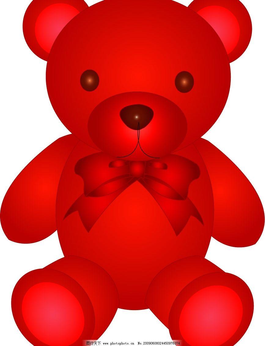 红色卡通小熊 矢量 卡通 玩具熊 可爱 公仔 矢量素材 绿色小熊 创意