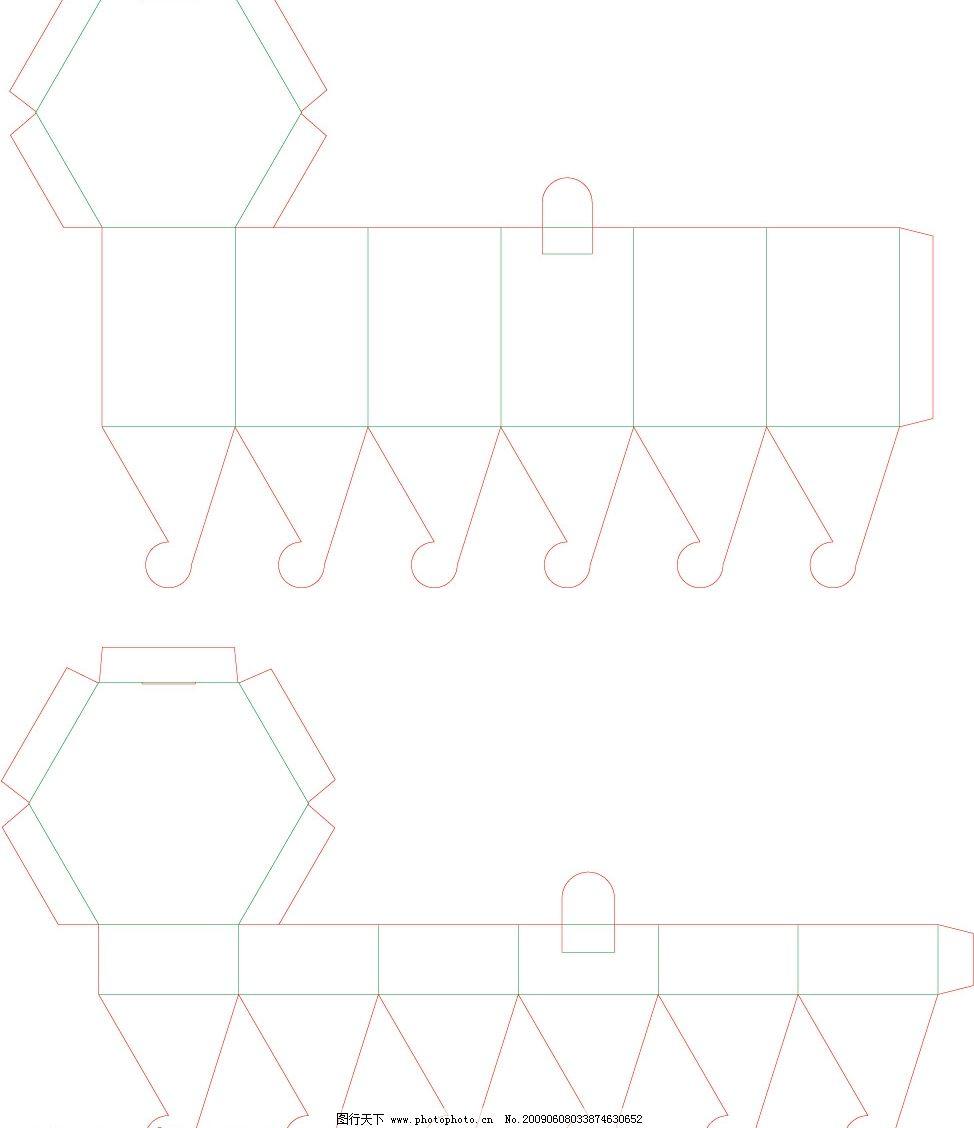 包装纸盒造型结构展开图图片