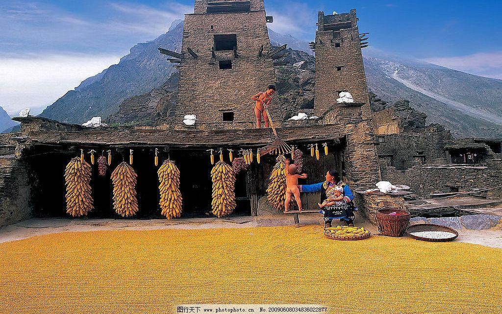 四川 阿坝 羌族碉楼 景色 风景 风光 摄影图库