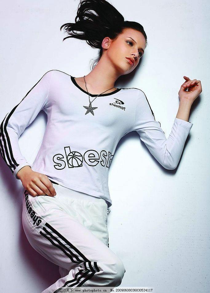 运动装美女 模特 运动装      服装模特 女性人物图库 摄影图库 上衣