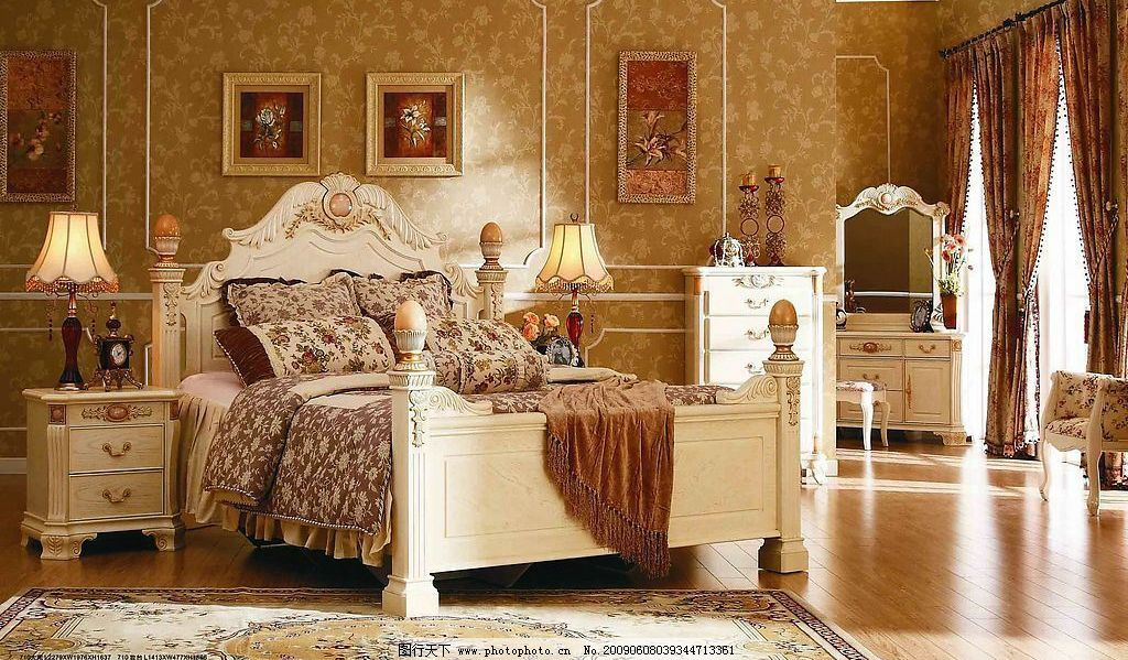 欧式家具 家具 家居 床 橱柜 卧房 建筑园林 室内摄影 摄影图库 150dp