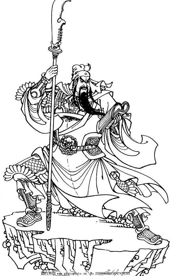 关公 瓜棚 佳色 姻缘 线描 工笔画 黑白 白描 线条 文化艺术 绘画书法