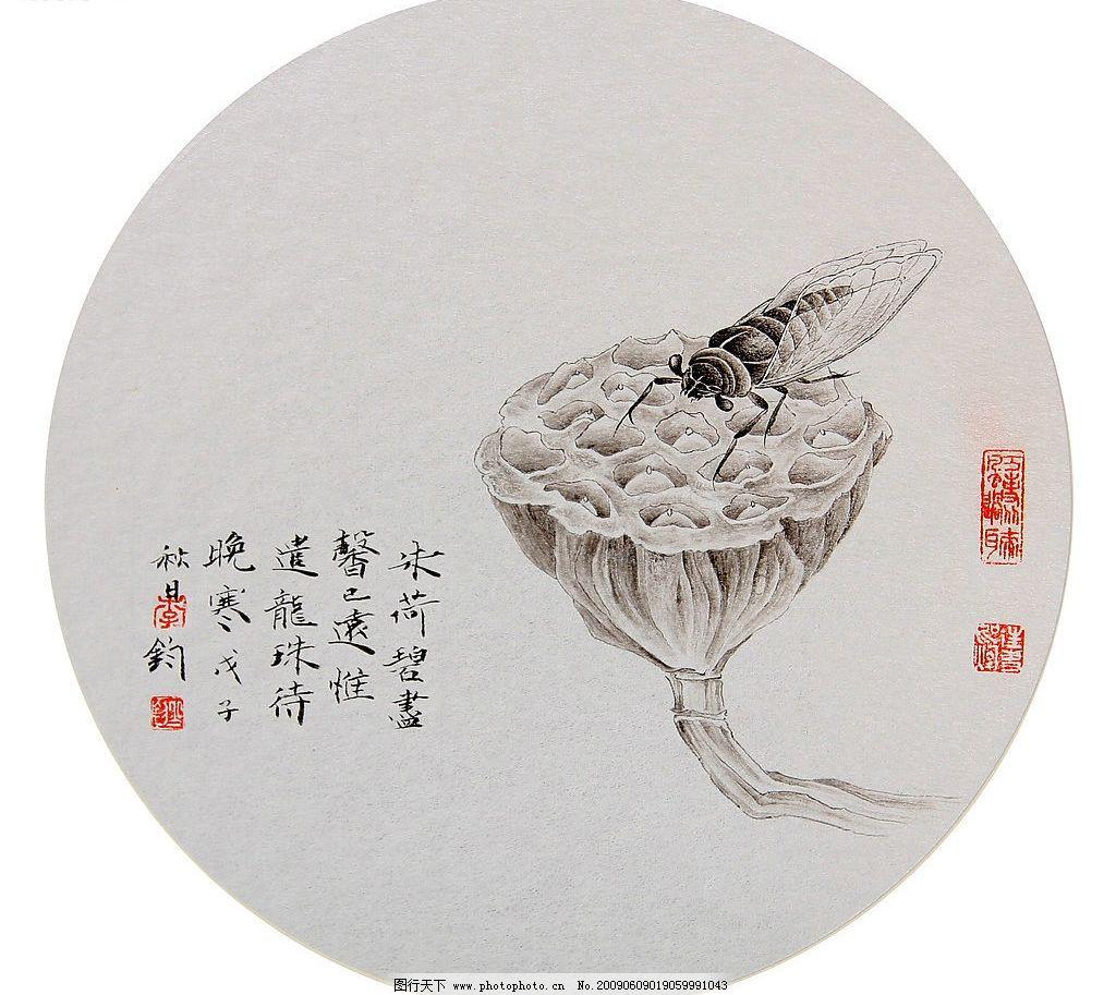 花鸟画 国画 工笔 工笔画 国画艺术 现代国画 莲子 蜜蜂 文化艺术